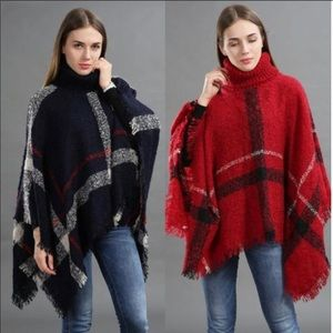 COMING SOON - Turtleneck Fringe Hem Plaid Cape